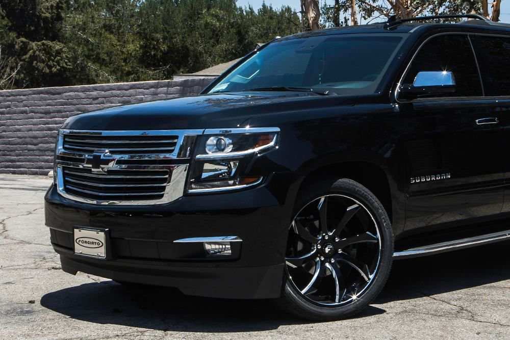 Black Chevrolet Suburban Suv Gets Black Forgiato Alloy Wheels