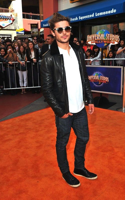 cf475f3a Zac Efron + Simon Spurr Shearling Collar Leather Jacket | My Style ...