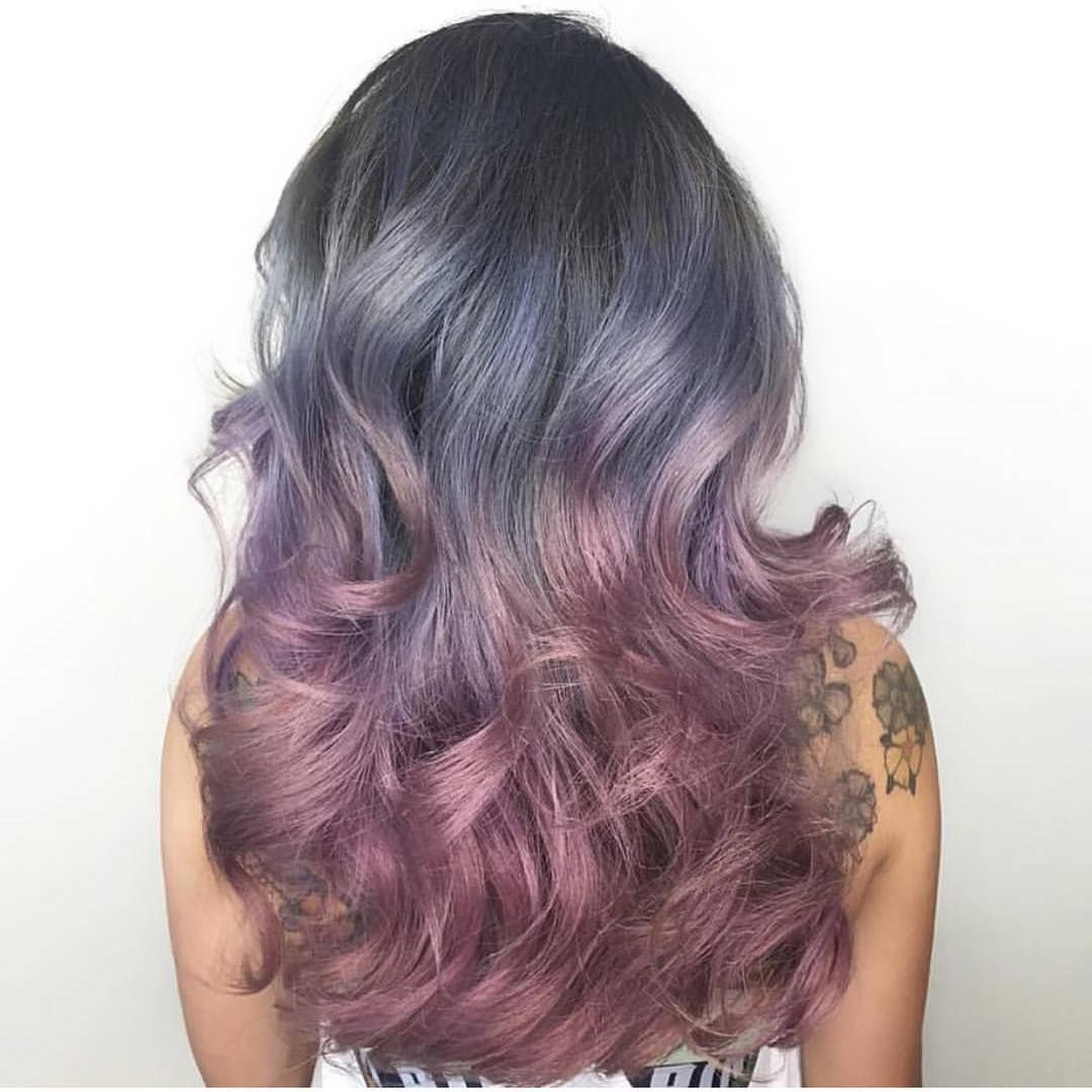 Smoky Silver and pale plum color design by @erikadawnshear Beautiful color work Erika  #hotonbeauty