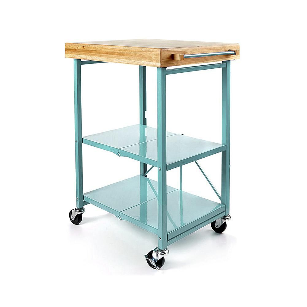 Origami Folding Kitchen Island Cart with Casters - Blue | Kitchen ...