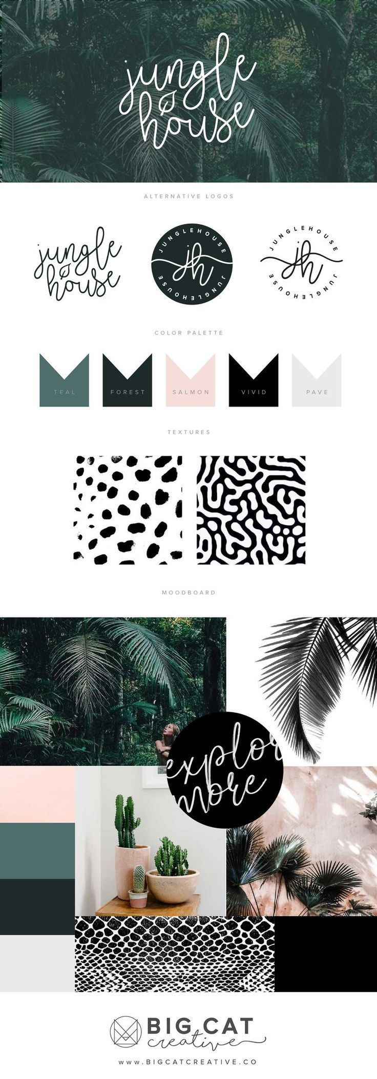 Branding Style Board for Jungle House | Get your own at bigcatcreative.com/ | Branding | Branding Style Board | Brand Board | Brand Design | Small Business | Creative Entrepreneur | Brand Design Inspiration | Logo Design Inspiration | Logo Design | Handwritten Logo | Color Palette | Moodboard | Script | Mood Board Inspiration | Brandboard | Green and Blush | Palm leaves #moodboards