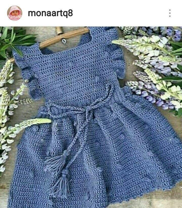 Vestidos de niña #vestidosparabebédeganchillo