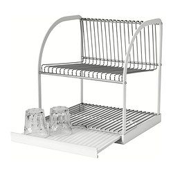 We gotta get one of these. It has a tray so the water doesn't damage the table! BESTÅENDE Opvaskestativ - IKEA