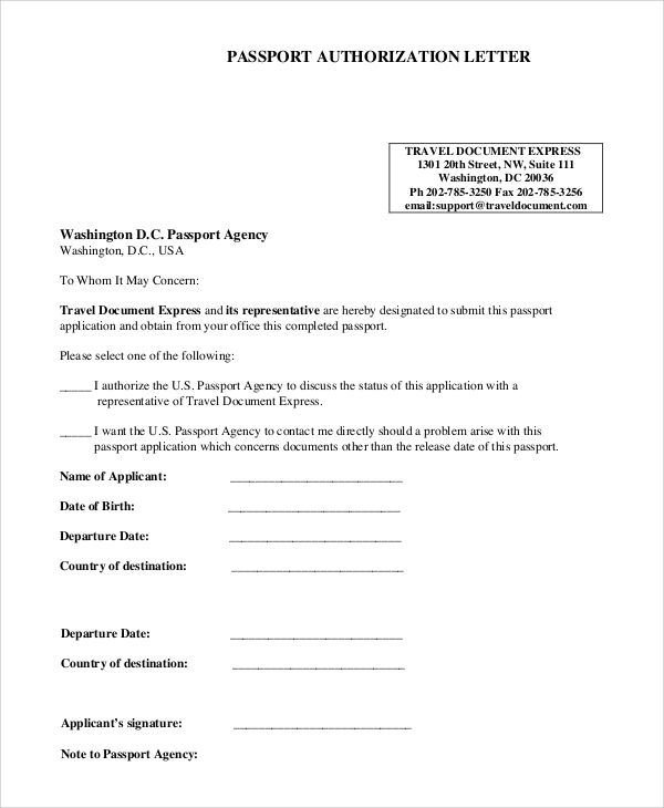 Sample Authorization Letter Examples Pdf Passport Application