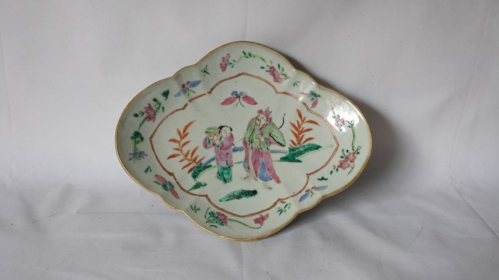 Antique Chinese Famille Rose Enameled Porcelain Man Boy Footed Bowl Dish