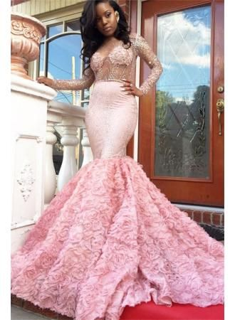f3abec6add6 Luxury Pink Mermaid Prom Dresses Sheer Beading Long Sleeves Floral Skirt  Evening Gowns