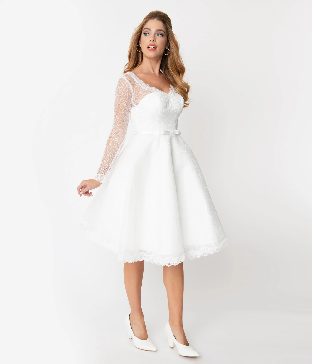 Unique Vintage 20s White Lace Long Sleeve Martinique Bridal ...
