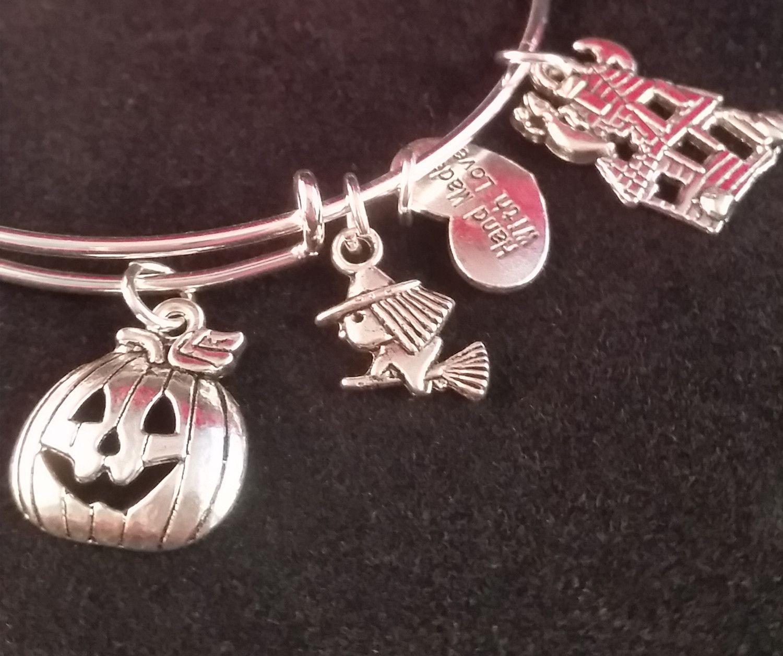 Spooky Halloween Charm Bangle Bracelet