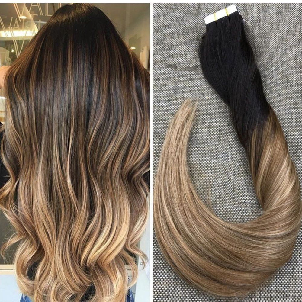 Sale 8a Grade Balayage Tape In 100 Remy Real Human Hair Extensions Brown 10pcs Stilvolle Frisuren Haarfarbe Kastanie Braun Ombre Haare