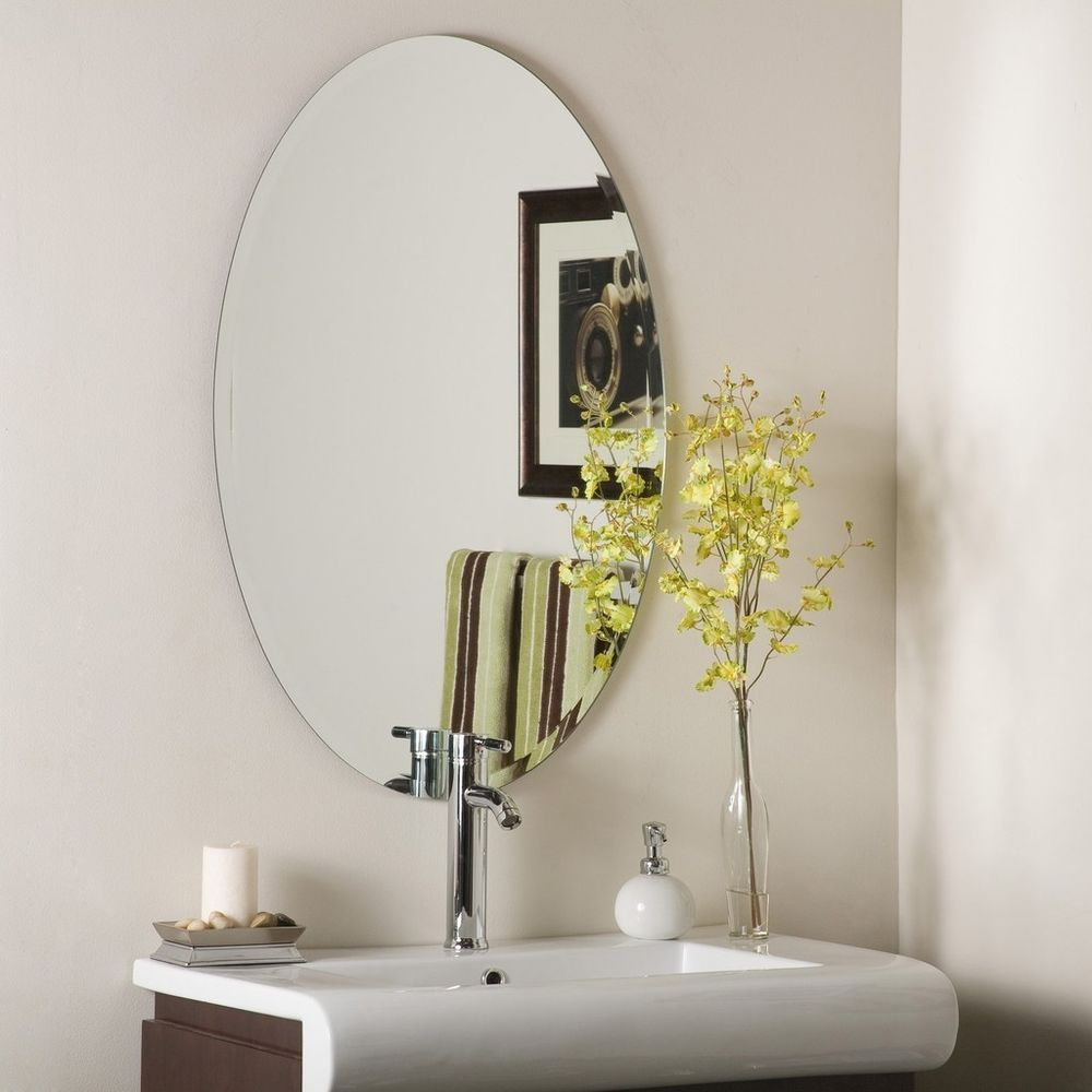 Frameless Mirrors For Bathrooms frameless oval wall mirror hall bathroom deep bevel | hall