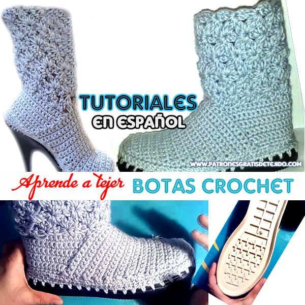 Tutorial de botas crochet con suela de goma paso a paso | tejidos a ...