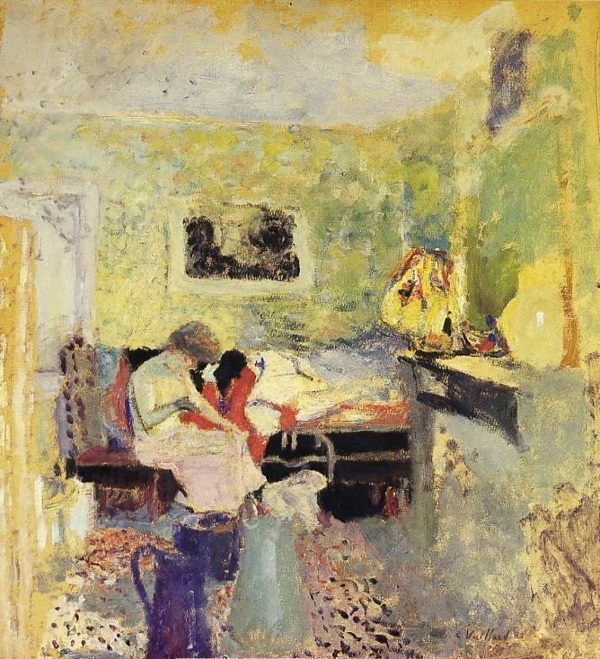 """Edouard VUILLARD 1868-1940  - """"La Chambre verte""""  - Huile sur carton 61 cm x 54,5 cm  - Peint en 1905  - Localisation: collection privée"""
