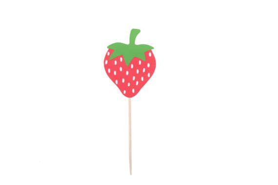 Strawberry Cupcake Toppers  Strawberry Birthday Cupcake
