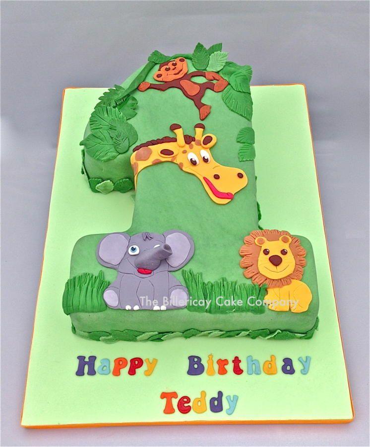 Jungle Number 1 Cake Zoo theme birthday cake, Jungle