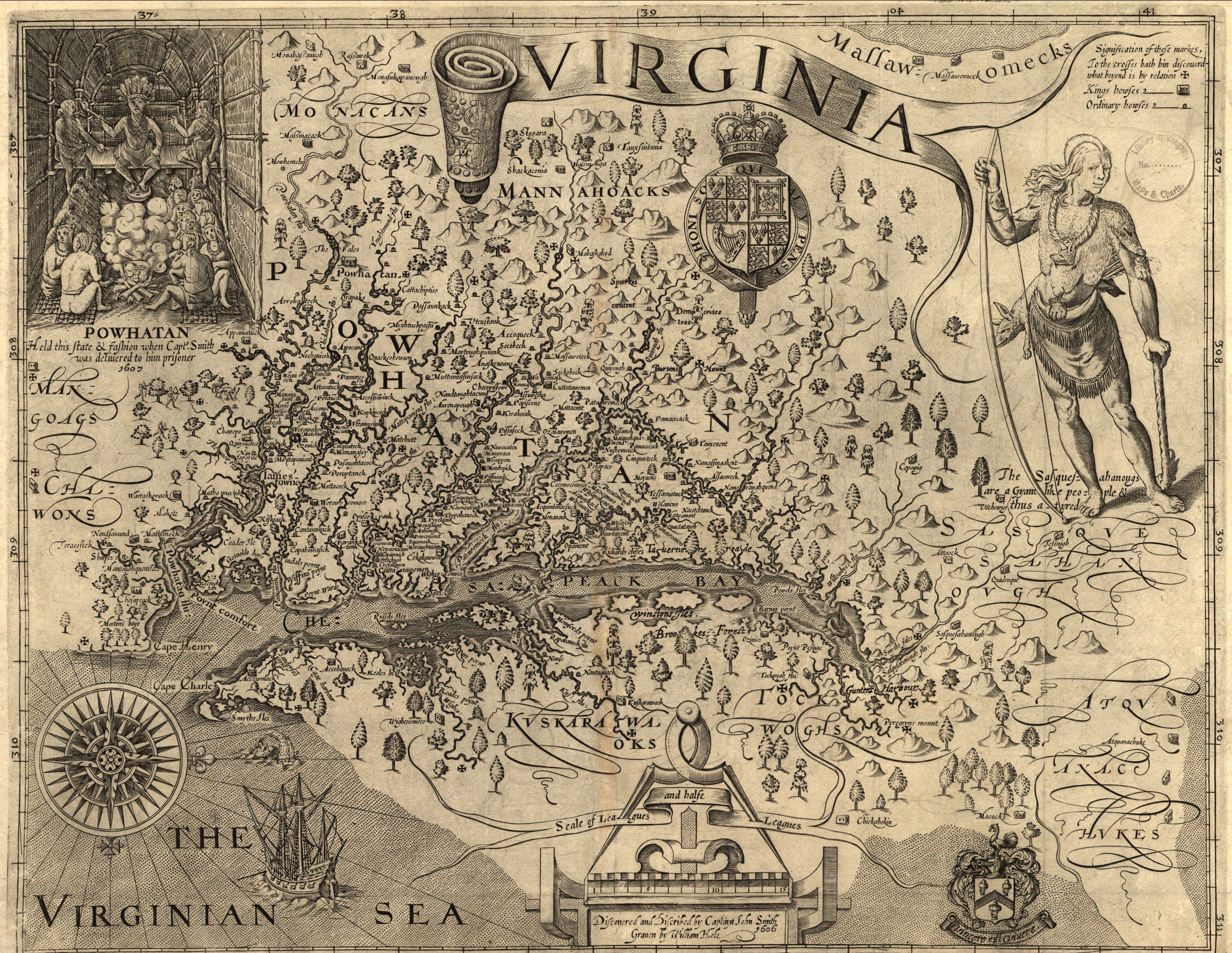 William Hole John Smith Map Of Virginia Area Historic Maps Of - Vintage map of virginia