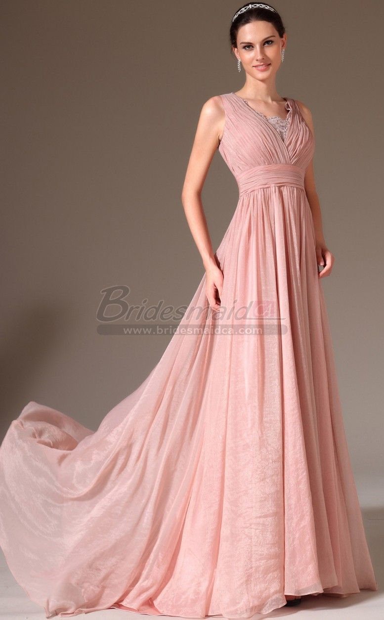 V Neck Long Silk Like Chiffon Pink Bridesmaid Dress JT-CA1432 ...