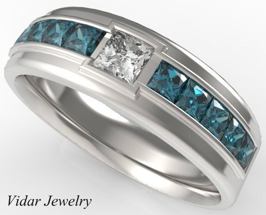 Mens Wedding Band Blue Diamonds Ring For A Men Unique White And