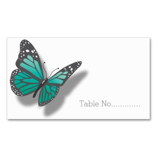 Blue Gray Butterfly Table Escort Business Card