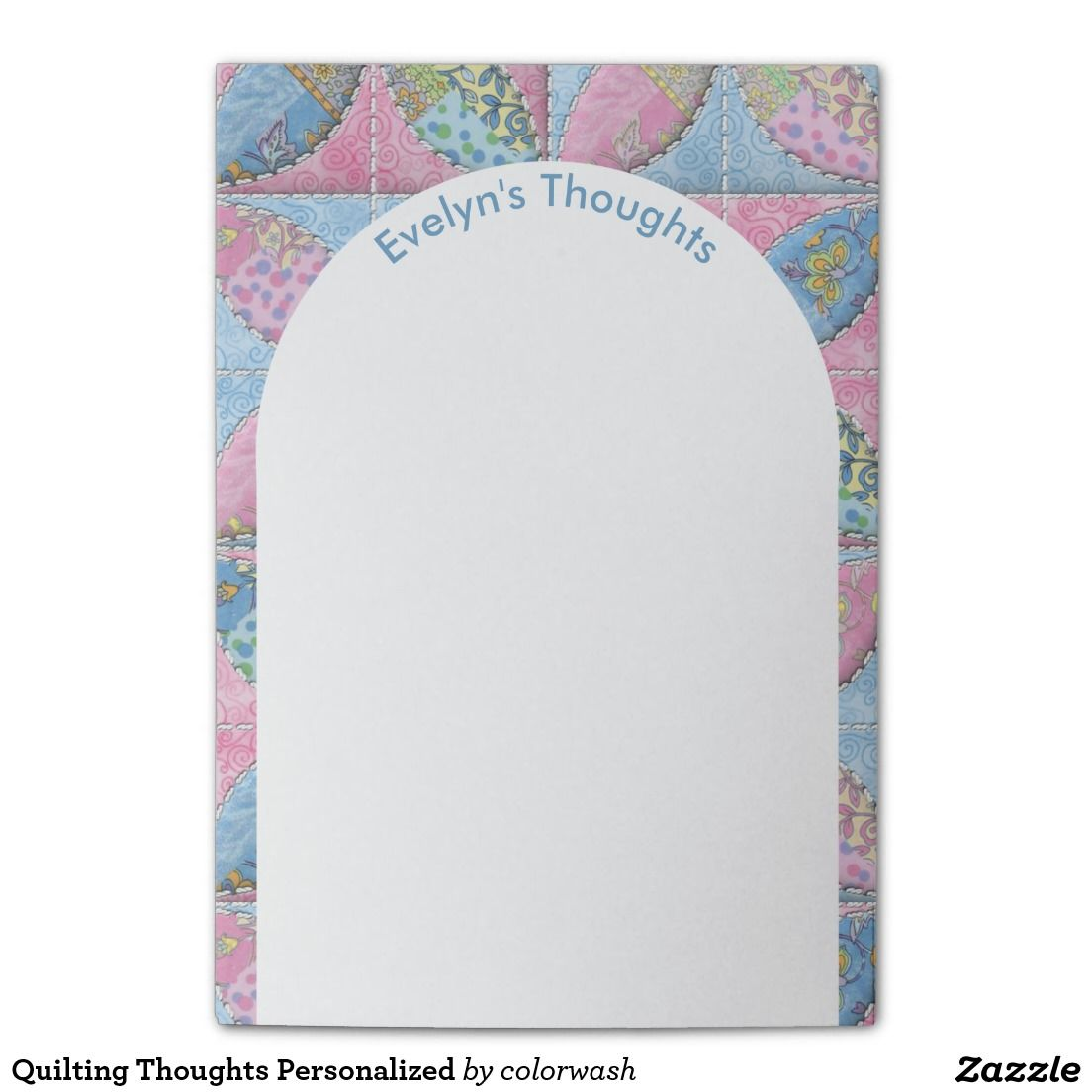 Quilting Thoughts Personalized Post-it® Notes - Give a thoughtful gift to the quilter in your life with sticky notes that have just the right design & plenty of room for notes, ideas, and sketches. Easily personalize the text.