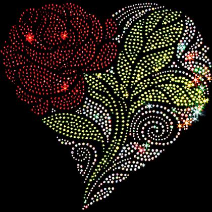 9x9  - Rhinestone and Rhinestud Heart with Rose - flowers, Flowers, Flowers Butterflies and Birds, hearts, Hearts & Love, rhinestones, rhine...