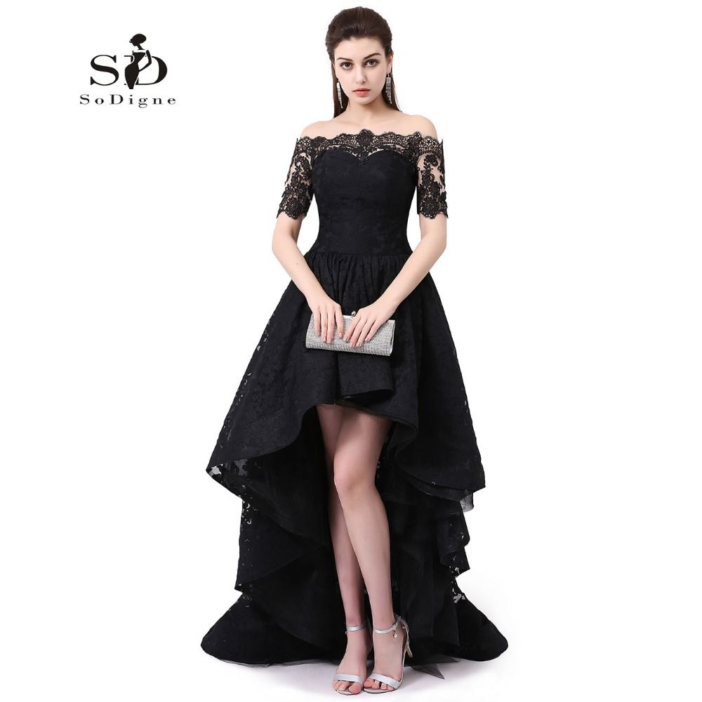 Hi low prom dress off the shoulder beautiful dresses for teens black
