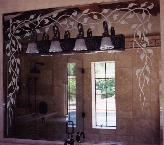 Decorative Mirrors With Frosted Etched And Carved Designs By Sans Soucie Art Glass Add A Beautiful Cus Decorative Bathroom Mirrors Glass Mirror Mirror Designs