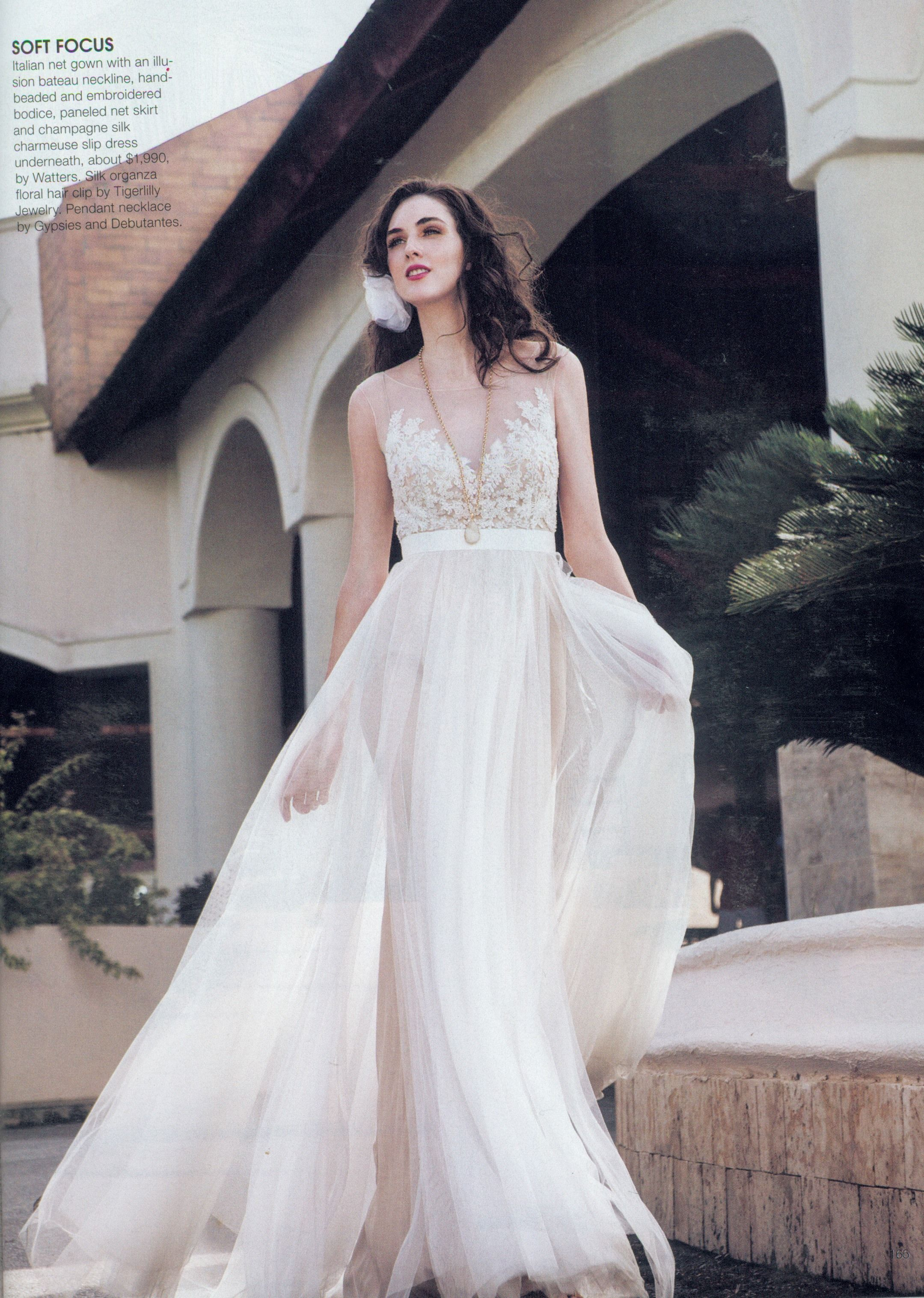 Ivory silk and lace wedding dress  Watters Jacinda gown style B featured in the JanuaryFebruary