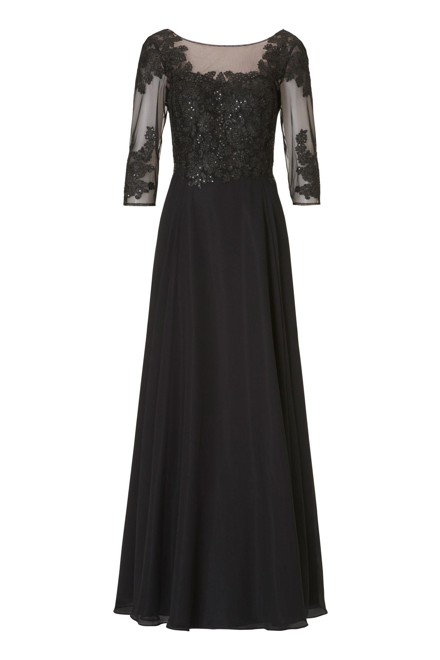 Langes schwarzes Kleid mit Ärmel von Vera Mont  Mode Bösckens