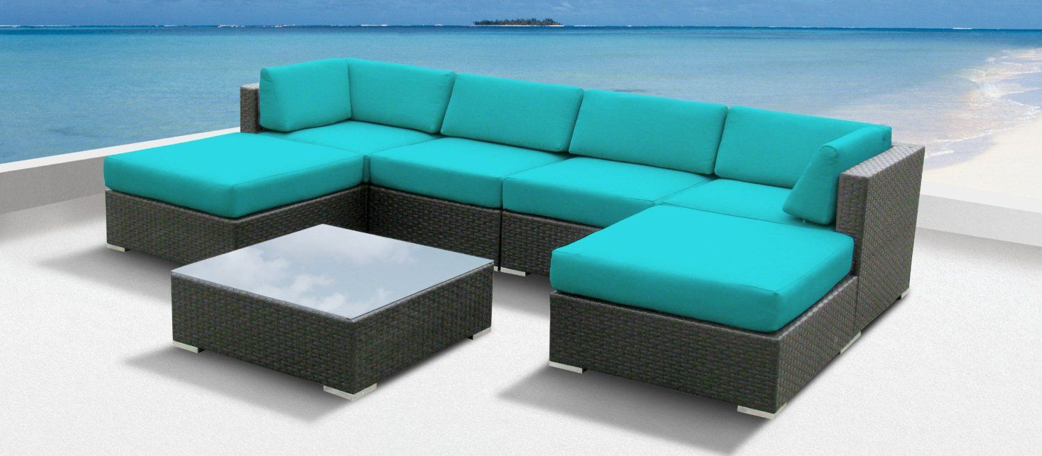 cool outdoor furniture. For The Deck: Amazon.com: Luxxella Outdoor Patio Wicker MALLINA Sofa Sectional Furniture 7pc All Weather Couch Set TURQUOISE: Patio, Lawn \u0026 Garden Cool N