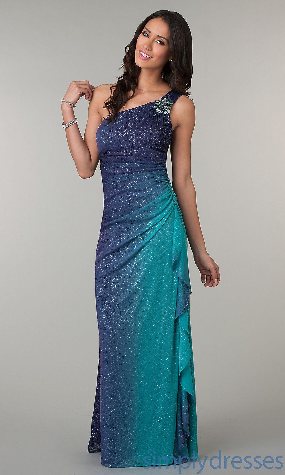sunset Prom Dress | One Shoulder Floor Length Ombre Glitter Dress ...