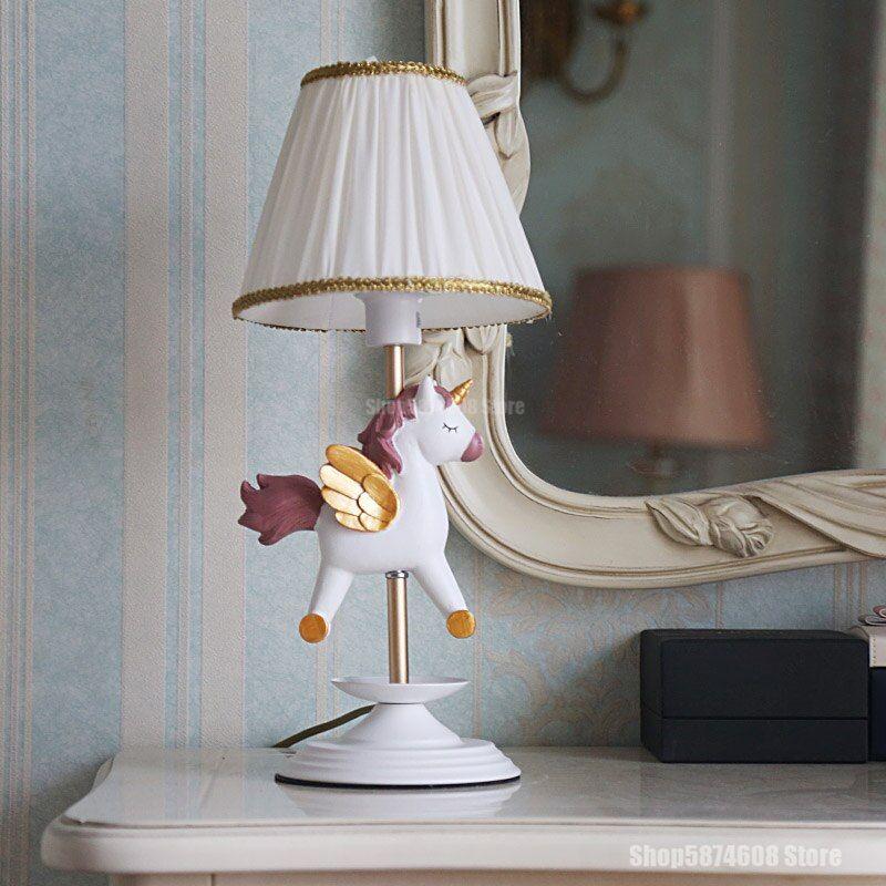 American Cartoon Unicorn Table Lamp Led Animal Horse Deer Resin Desk Lamp Children S Room Lamp Bedroom Dressi In 2021 Kids Room Lighting Room Lamps Bedrooms Table Lamp
