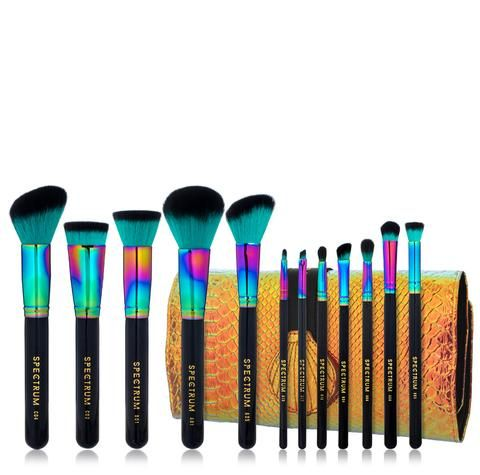 12 piece siren brush set  roll  unicorn makeup brushes