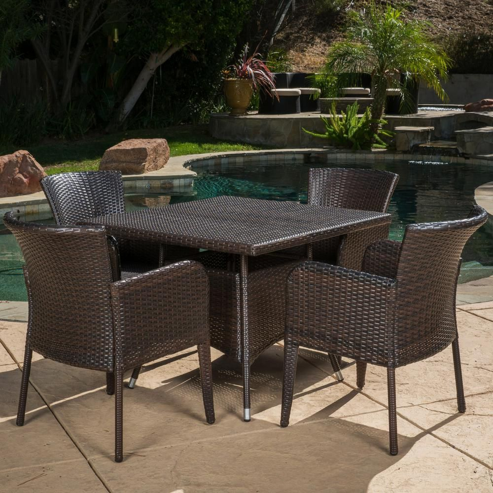 Noble House Multi Brown 5 Piece Wicker Square Outdoor Dining Set