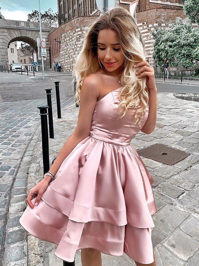 Pink Homecoming Dress Short Prom Dresses Satin Homecoming Dress One Shoulder Homecoming D Strapless Homecoming Dresses Homecoming Dresses Pink Homecoming Dress [ 1024 x 768 Pixel ]