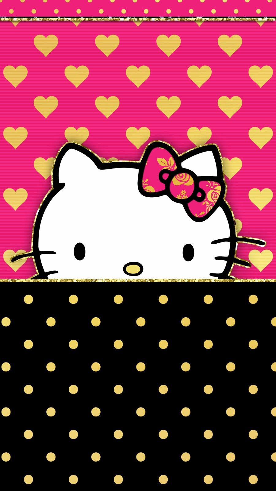 Gold Hot Pink Wallpaper Iphone Gold Hello Kitty