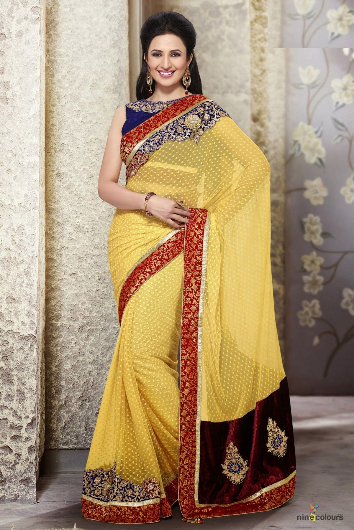 Yellow colour saree images net and jacquard designer saree in yellow colour   women