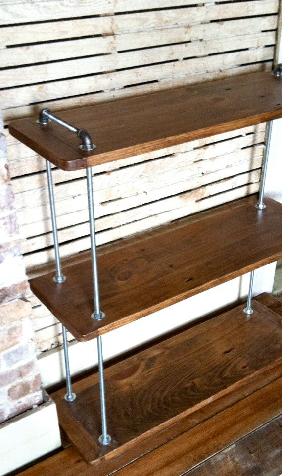 Beautiful Multi Level Adjustable Threaded Rod Shelf, Reclaimed Wood Floor Standing  Shelf, Wood And Steel, Industrial Farmhouse, Reclaimed Furniture