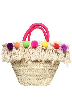 STRAW BAG W/ POMPOM & FRINGES