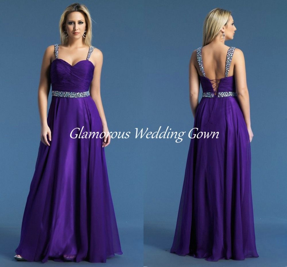 Purple Rhinestone Crystals Prom Dresses Straps Pleat Sweep Train A ...