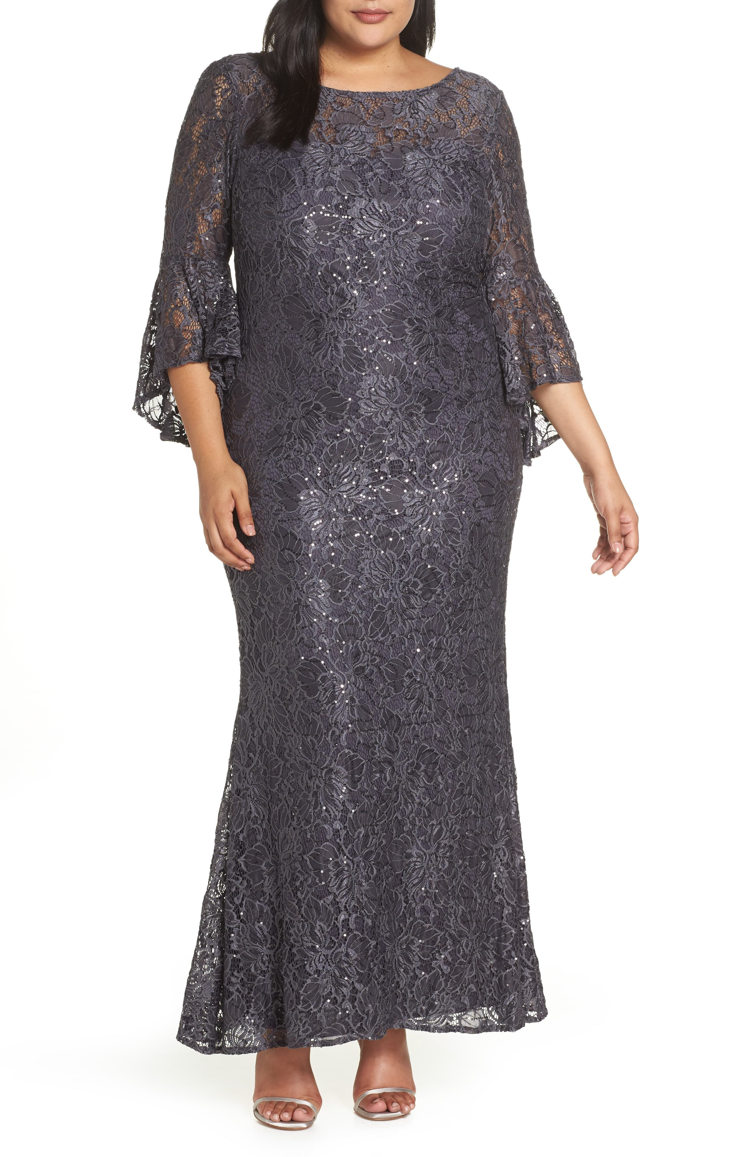 Morgan Co Lace Bell Sleeve Gown Plus Size Nordstrom Gowns With Sleeves Bride Clothes Plus Size Flapper Dress [ 4048 x 2640 Pixel ]