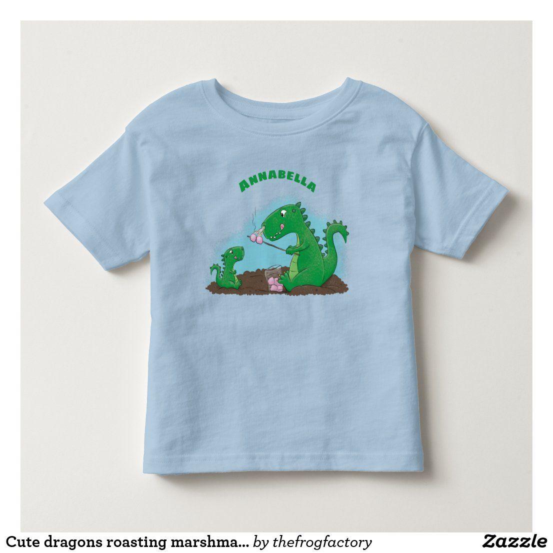 Cute Dragons Roasting Marshmallows Cartoon Toddler T Shirt Zazzle Com Toddler Tshirts Cute Dragons Custom Holiday Card