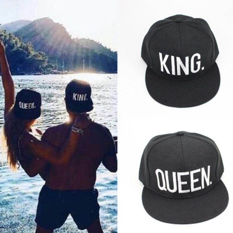 QUEEN and KING baseball cap hats hip hop White letter caps Lovers snapback