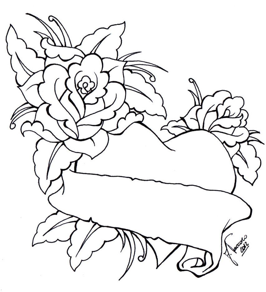 Roses Heart Lineart By Kauniitaunia On Deviantart Heart Drawing Flower Coloring Pages Cool Heart Drawings