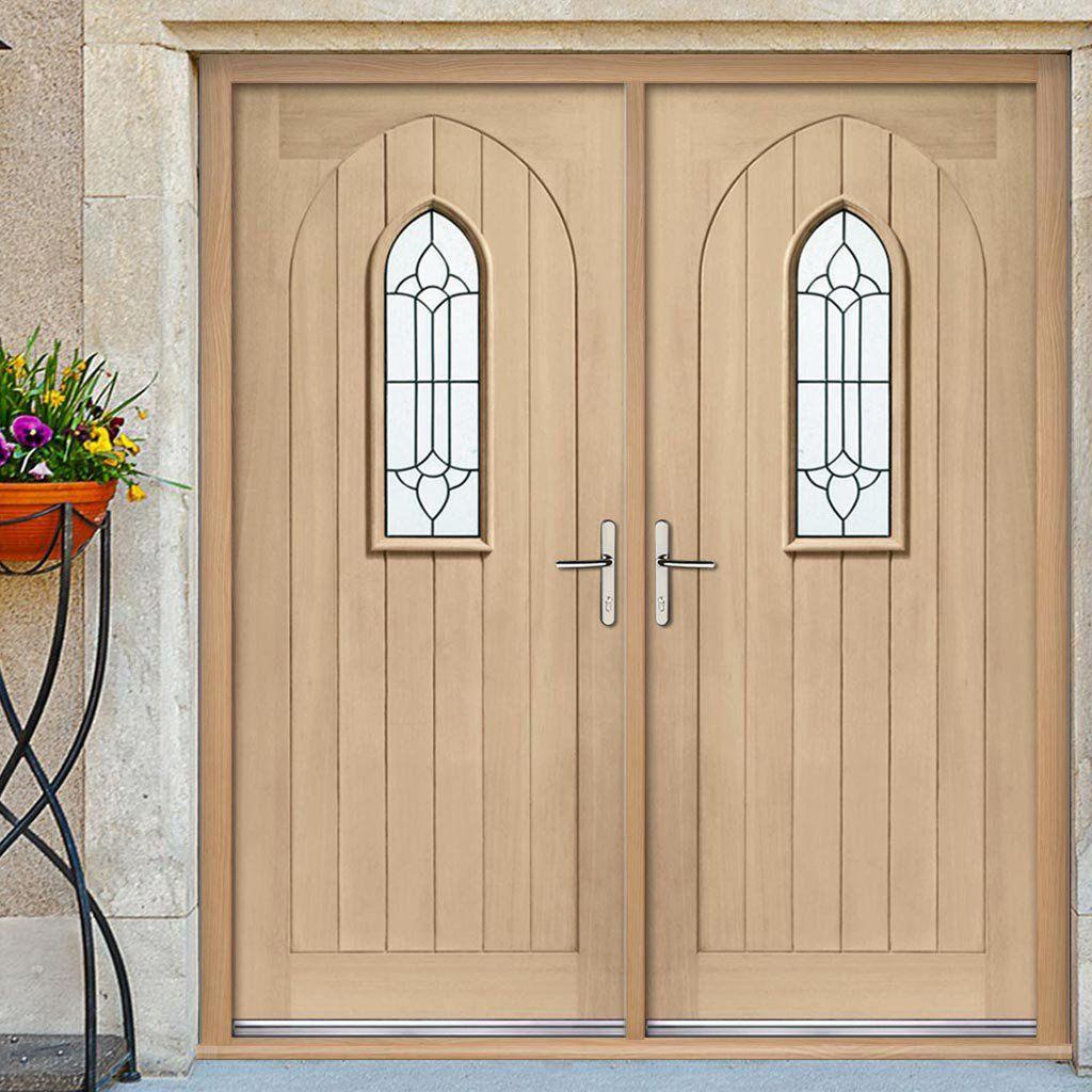 Westminster Exterior Oak Double Door And Frame Set Black Leadwork