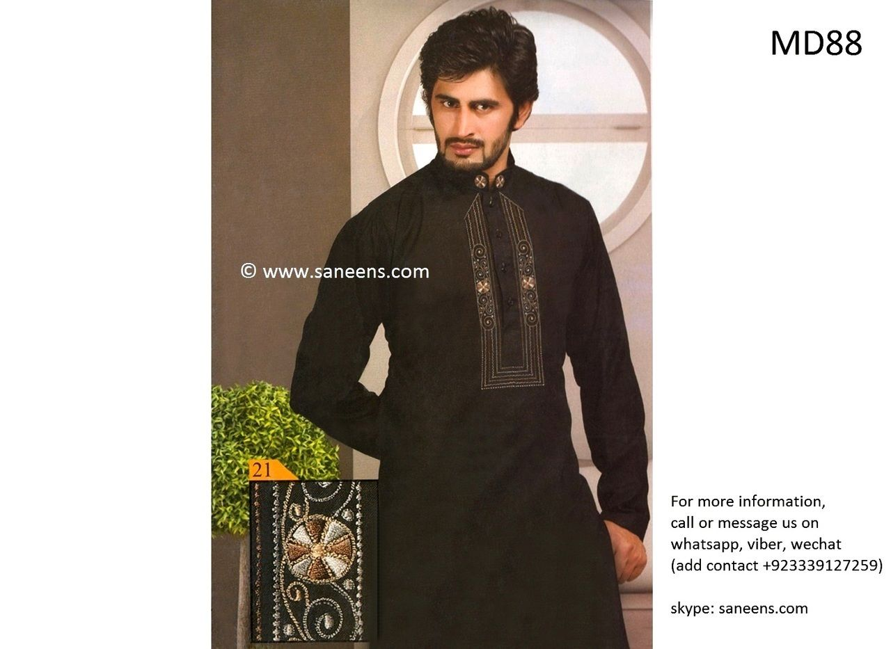 Muslim wedding dress in black color with fancy embroidery work