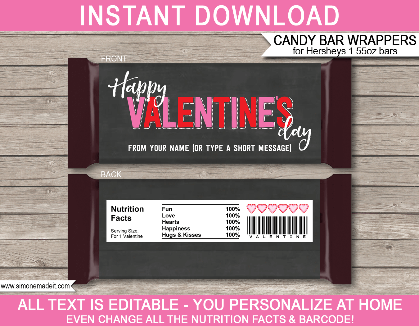 Valentine S Day Candy Bar Wrers Hershey 1 55oz Milk Chocolate Labels Personalized Bars Editable Template Instant 3 00 Via