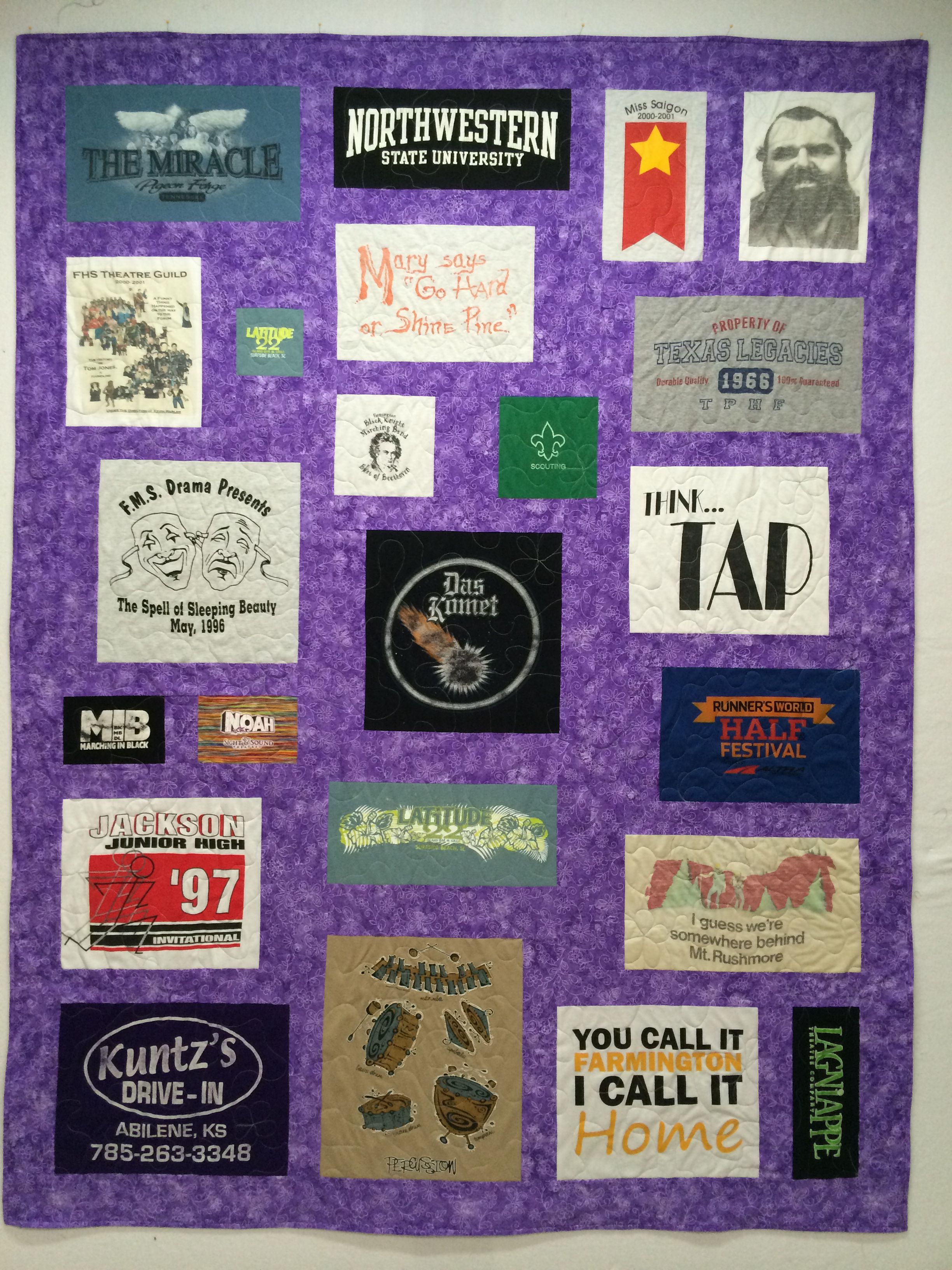 Custom tshirt quilt blocks are based on the size of each