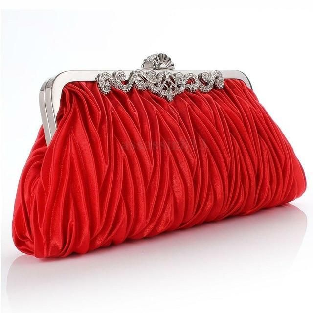 Photo of Women Lady Satin Crystal Bridal Handbag Clutch Party Wedding Purse Evening Bag Pleated Day Clutches Solid Ladies Handbags – G