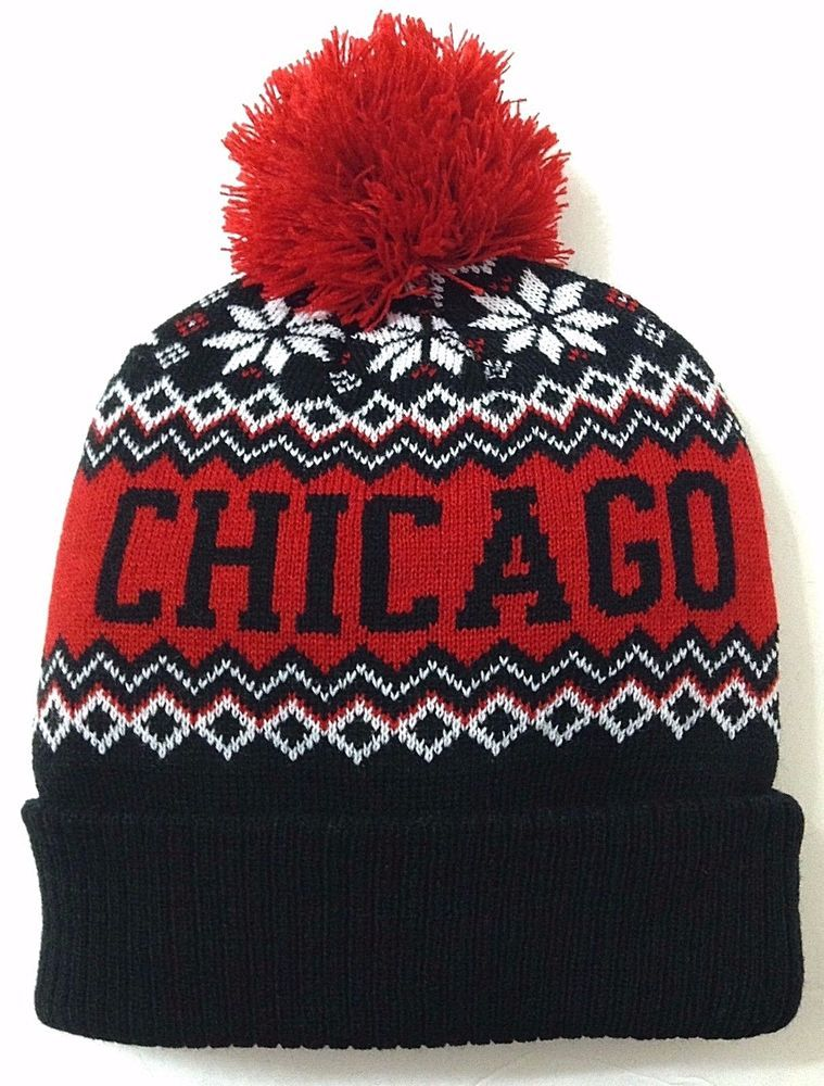 CHICAGO POM BEANIE Men Women Winter Knit Ski Hat Snowflake Bull Blackhawk-Colors   KBTrading  Beanie 0de0f040371