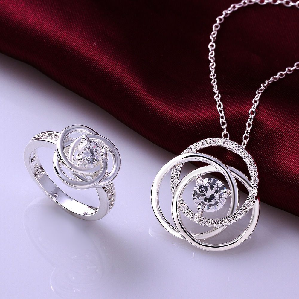 colors sterling silver zircon flower accessories necklacering